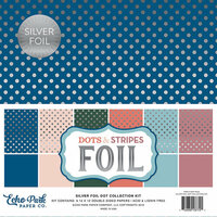 Echo Park - Dots and Stripes Collection - Spring Silver Foil Dots - 12 x 12 Collection Kit