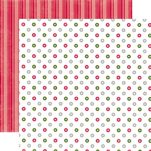 Echo Park - Christmas Dots and Stripes Collection - 12 x 12 Double Sided Paper - Holly Berry Small Dot