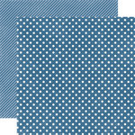 Echo Park - Homefront Dots and Stripes Collection - 12 x 12 Double Sided Paper - Blueberry Small Dot