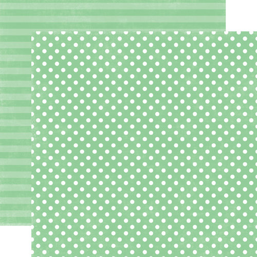 Echo Park - Jewels Dots and Stripes Collection - 12 x 12 Double Sided Paper - Jade Small Dot