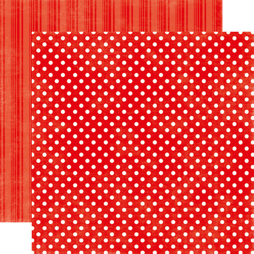 Echo Park - Metropolitan Dots and Stripes Collection - 12 x 12 Double Sided Paper - Ruby Red Small Dot