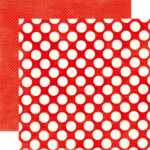 Echo Park - Metropolitan Dots and Stripes Collection - 12 x 12 Double Sided Paper - Ruby Red Large Dot