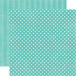 Echo Park - Metropolitan Dots and Stripes Collection - 12 x 12 Double Sided Paper - Teal Small Dot