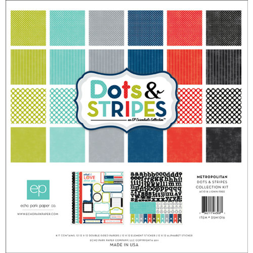 Echo Park - Metropolitan Dots and Stripes Collection - 12 x 12 Collection Kit