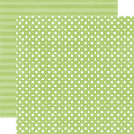 Echo Park - Neapolitan Dots and Stripes Collection - 12 x 12 Double Sided Paper - Lime Sherbet Small Dot