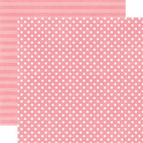 Echo Park - Neapolitan Dots and Stripes Collection - 12 x 12 Double Sided Paper - Berry Bliss Small Dot