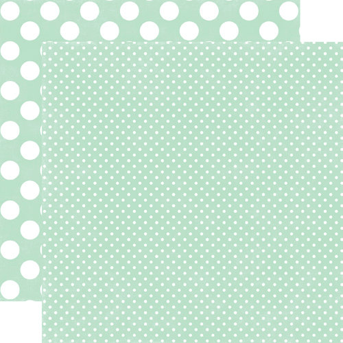 Echo Park - Neapolitan Dots and Stripes Collection - 12 x 12 Double Sided Paper - Mint Tiny Dot