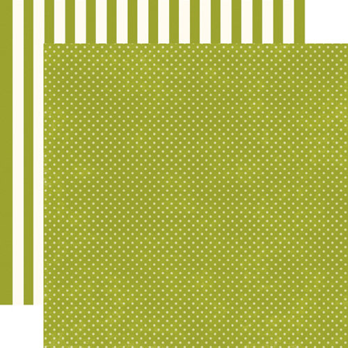 Echo Park - Soda Fountain Dots and Stripes Collection - 12 x 12 Double Sided Paper - Kiwi Tiny Dot