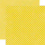 Echo Park - Soda Fountain Dots and Stripes Collection - 12 x 12 Double Sided Paper - Banana Small Dot