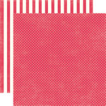 Echo Park - Soda Fountain Dots and Stripes Collection - 12 x 12 Double Sided Paper - Strawberry Tiny Dot
