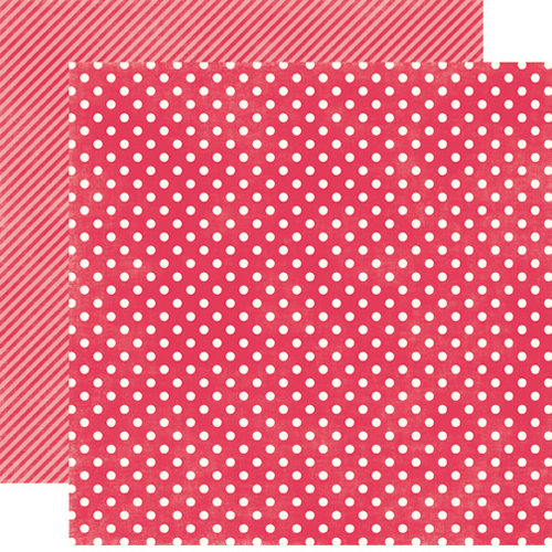 Echo Park - Soda Fountain Dots and Stripes Collection - 12 x 12 Double Sided Paper - Strawberry Small Dot