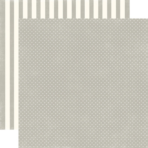 Echo Park - Soda Fountain Dots and Stripes Collection - 12 x 12 Double Sided Paper - Seltzer Grey Tiny Dot