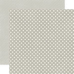 Echo Park - Soda Fountain Dots and Stripes Collection - 12 x 12 Double Sided Paper - Seltzer Grey Small Dot