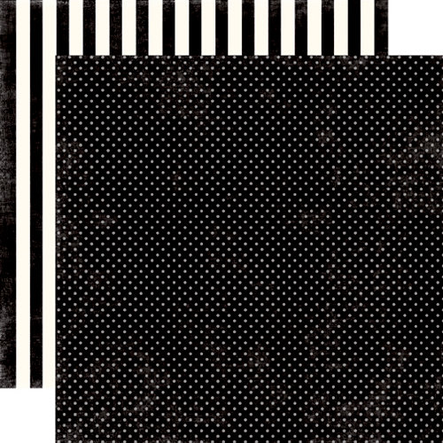 Echo Park - Soda Fountain Dots and Stripes Collection - 12 x 12 Double Sided Paper - Black Licorice Tiny Dot
