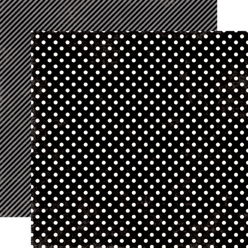 Echo Park - Soda Fountain Dots and Stripes Collection - 12 x 12 Double Sided Paper - Black Licorice Small Dot