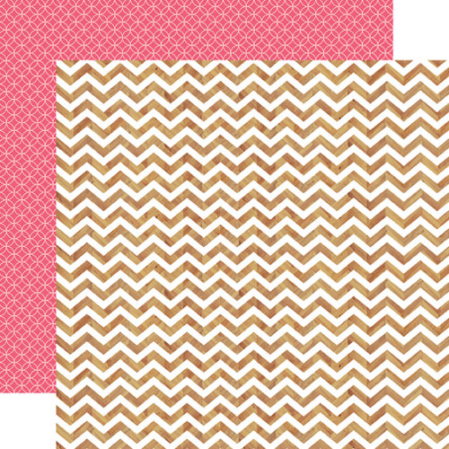 Echo Park - Everyday Eclectic Collection - 12 x 12 Double Sided Paper - Chevron Woodgrain