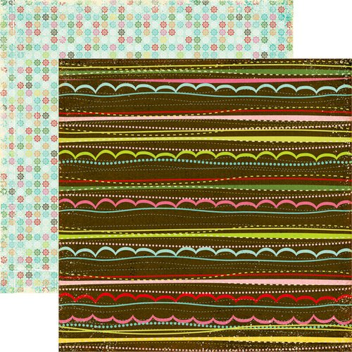 Echo Park - Everybody Loves Christmas Collection - 12 x 12 Double Sided Paper - Scallop Stripes, CLEARANCE
