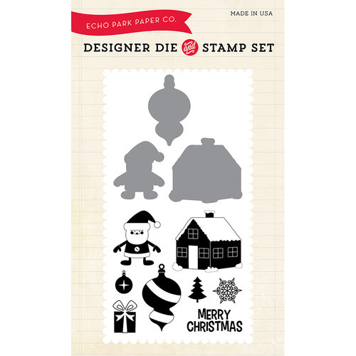 Echo Park - Christmas - Designer Die and Clear Acrylic Stamp Set - Santa