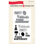 Echo Park - Sentiments - Designer Die and Clear Acrylic Stamp Set - Party Time