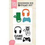 Echo Park - Designer Die and Clear Acrylic Stamp Set - Game Time