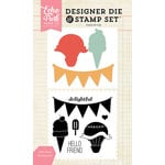 Echo Park - Designer Die and Clear Acrylic Stamp Set - Hello Friend