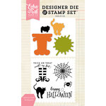Echo Park - Halloween - Designer Die and Clear Acrylic Stamp Set - Halloween Tricks