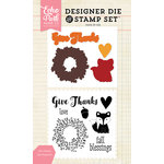 Echo Park - Designer Die and Clear Acrylic Stamp Set - Give Thanks