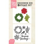 Echo Park - Christmas - Designer Die and Clear Acrylic Stamp Set - Seasons Greetings