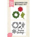 Echo Park - Christmas - Designer Die and Clear Acrylic Stamp Set - Seasons Greetings