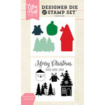 Echo Park - Christmas - Designer Die and Clear Acrylic Stamp Set - Merry Christmas