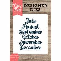 Echo Park - Designer Dies - Cursive July to December Words