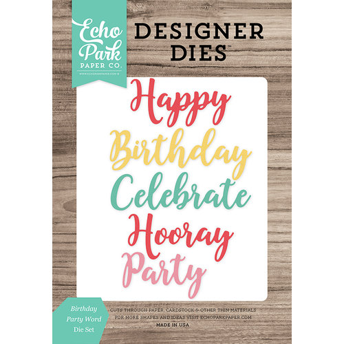Echo Park - Celebrate Spring Collection - Designer Dies - Birthday Party Word