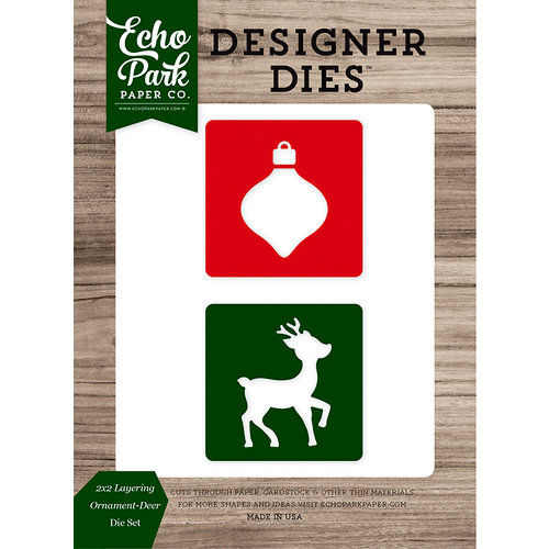 Echo Park - Christmas Cheer Collection - Designer Dies - 2 x 2 Layering Ornament-Deer