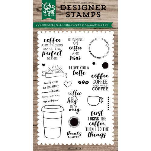 Echo Park - Clear Photopolymer Stamps - Coffee and Friends