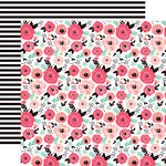 Echo Park - Fashionista Collection - 12 x 12 Double Sided Paper - Fashionista Floral