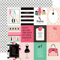 Echo Park - Fashionista Collection - 12 x 12 Double Sided Paper - 3 x 4 Journaling Cards