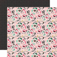 Echo Park - Fashionista Collection - 12 x 12 Double Sided Paper - So Many Shoes