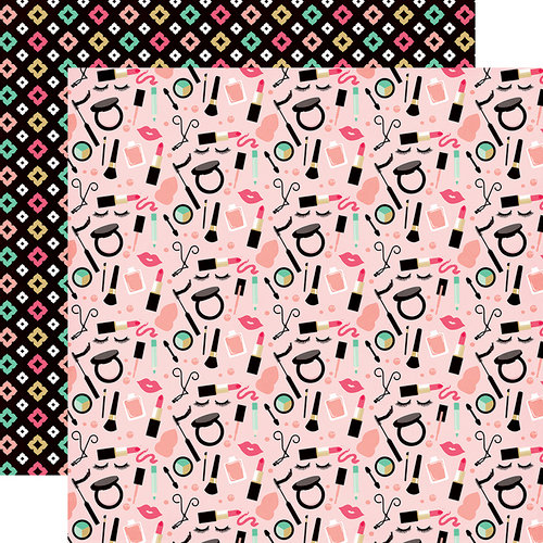 Echo Park - Fashionista Collection - 12 x 12 Double Sided Paper - Makeup Time