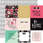 Echo Park - Fashionista Collection - 12 x 12 Double Sided Paper - 4 x 4 Journaling Cards