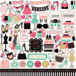 Echo Park - Fashionista Collection - 12 x 12 Cardstock Stickers - Elements