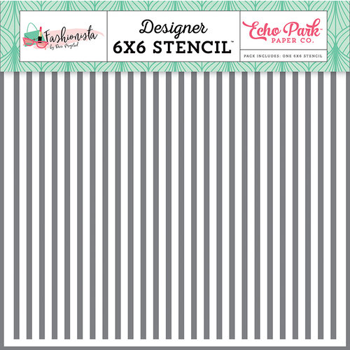 Echo Park - Fashionista Collection - 6 x 6 Stencil - Glamour Stripe