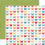 Echo Park - Fine and Dandy Collection - 12 x 12 Double Sided Paper - Fluttering Butterflies