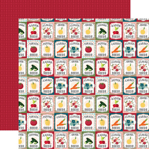 Echo Park - Farmer's Market Collection - 12 x 12 Double Sided Paper - Garden Seeds