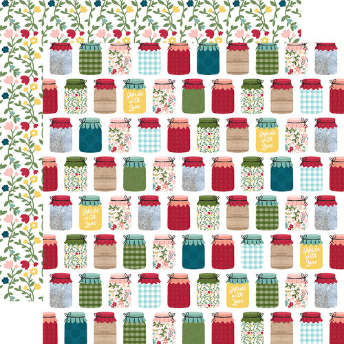 Echo Park - Farmer's Market Collection - 12 x 12 Double Sided Paper - Canning Jars