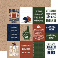Echo Park - Football Collection - 12 x 12 Double Sided Paper - 3 x 4 Journaling Cards