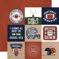 Echo Park - Football Collection - 12 x 12 Double Sided Paper - 4 x 4 Journaling Cards