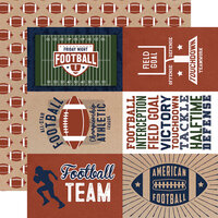 Echo Park - Football Collection - 12 x 12 Double Sided Paper - 4 x 6 Journaling Cards