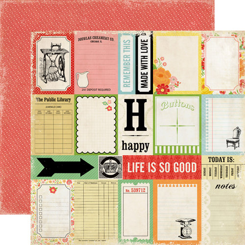 Echo Park - For the Record 2 Collection - Tailored - 12 x 12 Double Sided Paper - Journaling Cards
