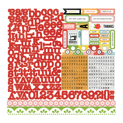 Echo Park - For the Record 2 Collection - Tailored - 12 x 12 Cardstock Stickers - Alphabet