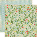 Echo Park - For The Record Collection - 12 x 12 Double Sided Paper - Fancy Floral